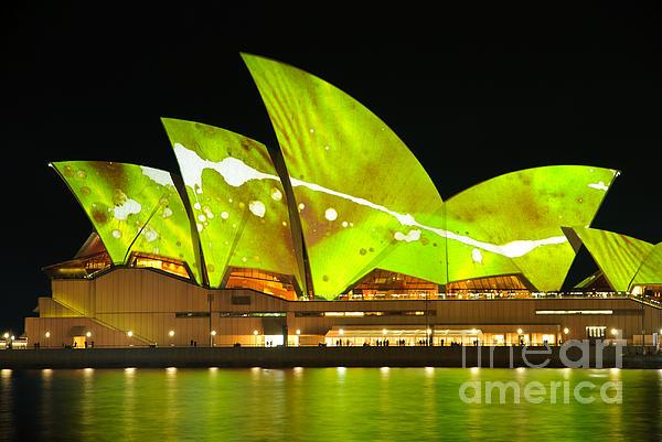 Sydney Opera House Photograph - The Sydney Opera House In Vivid Green by David Hill