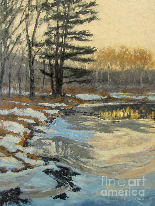 Winter Painting - The Thawing Pond - Hudson Valley by Gregory Arnett