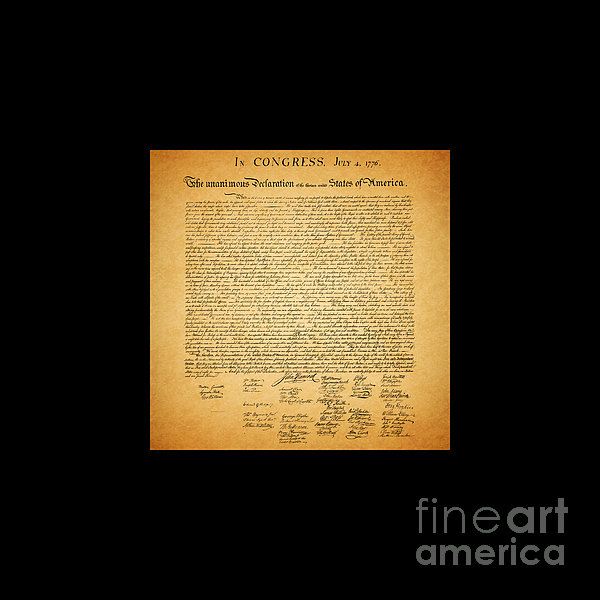 Usa Photograph - The United States Declaration Of Independence - Square Black Border by Wingsdomain Art and Photography