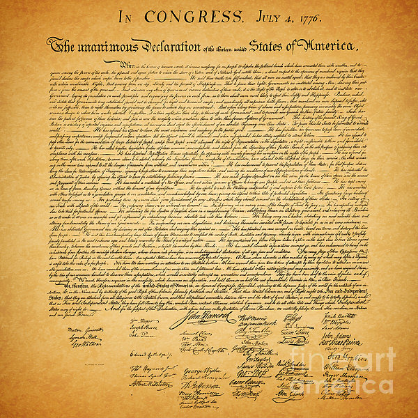 Usa Photograph - The United States Declaration Of Independence - Square by Wingsdomain Art and Photography