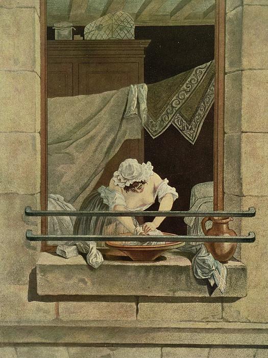 Washing Drawing - The Washerwoman, Engraved By J. Laurent by Augustin de Saint-Aubin