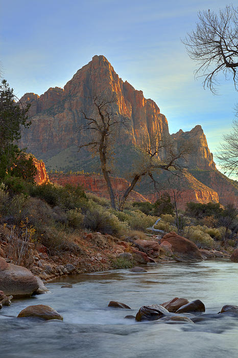 Zion Photograph - The Watchman In Winter-3 by Alan Vance Ley
