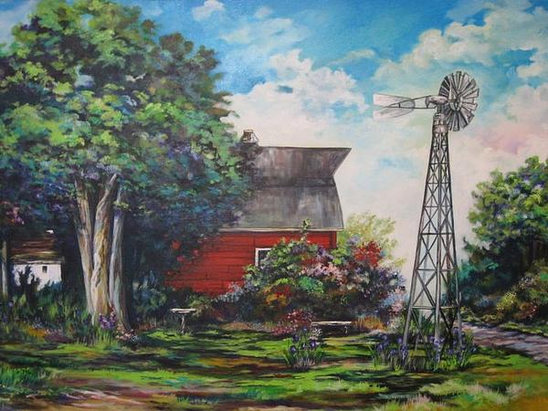 Windmill Painting - The Windmill Of The Garden by Kendra Sorum