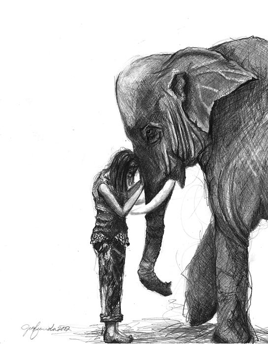 Elephant Drawing - They Call It A Thing Of Wonder by J Ferwerda