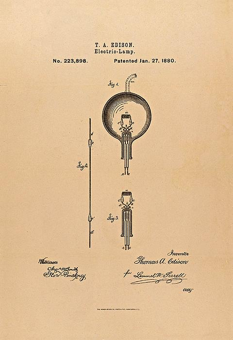 Light Bulb Photograph - Thomas Edison Patent Application For The Light Bulb by Movie Poster Prints