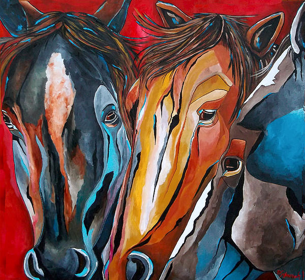 Horse Painting - Three Amigos by Patti Schermerhorn