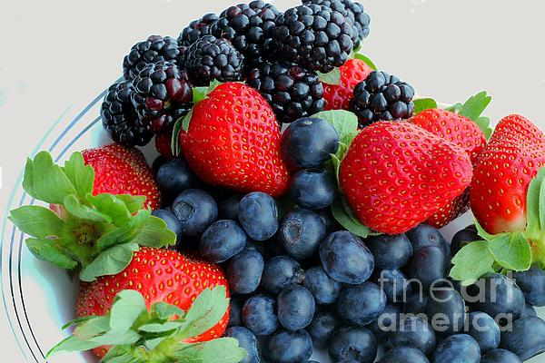 Blueberries Photograph - Three Fruit 2 - Strawberries - Blueberries - Blackberries by Barbara Griffin