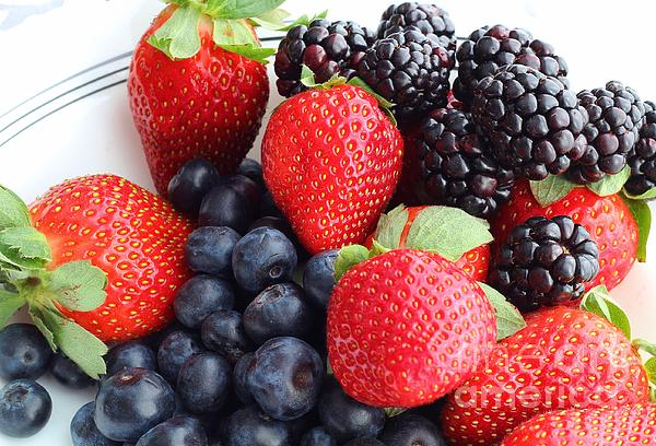 Three Fruit Photograph - Three Fruit - Strawberries - Blueberries - Blackberries by Barbara Griffin