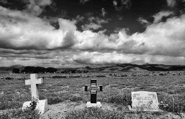 Headstones Photograph - Three Headstones by Mick Burkey