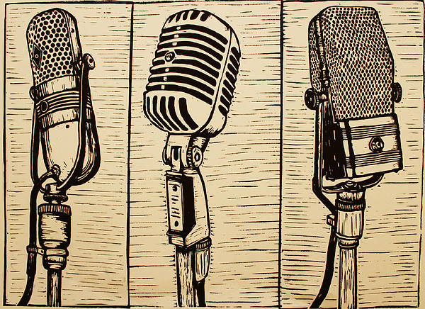 Rca Drawing - Three Microphones by William Cauthern