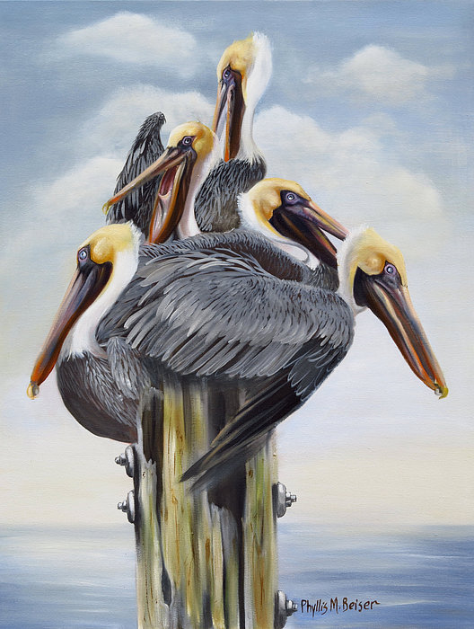 Pelicans Painting - Threes A Crowd by Phyllis Beiser