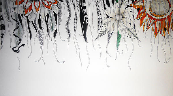 Flowers Drawing - Through The Vines by Lori Thompson