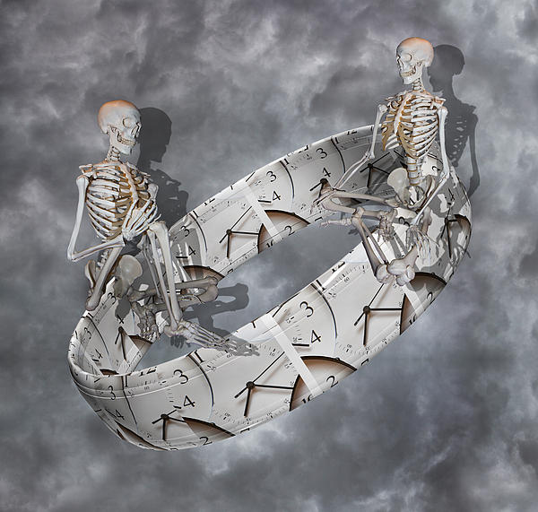 Skeleton Digital Art - Time Management by Betsy Knapp