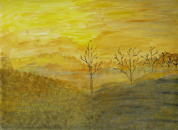 Beauty Of Moning Painting - Touch Of Gold by Sonali Gangane