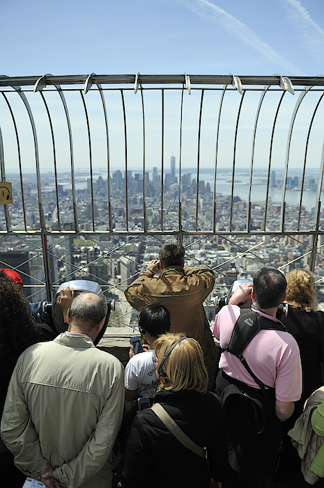 Tourists And View From The Empire State Building Photograph by Sheldon Levis