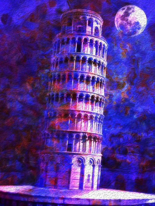 Leaning Photograph - Tower Of Pisa By Moonlight by Jack Zulli