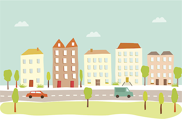 Town Houses Drawing by Amathers