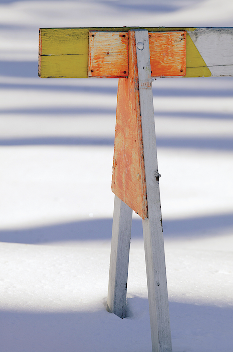 Traffic Barricade In Snow Photograph by Comstock Images