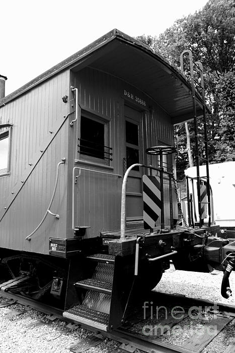Paul Ward Photograph - Train - The Caboose - Black And White by Paul Ward