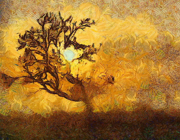 Tree Photograph - Tree At Sunset - Digital Painting In Van Gogh Style With Warm Orange And Brown Colors by Matthias Hauser