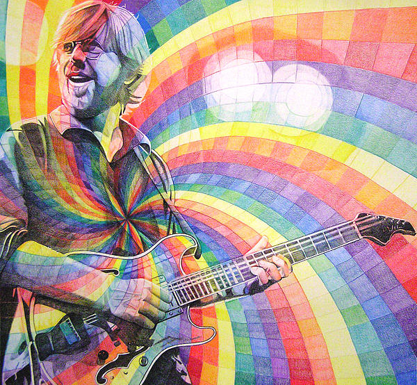 Phish Drawing - Trey Anastasio Rainbow by Joshua Morton