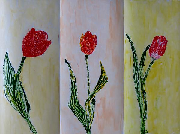 Red Painting - Trio Of  Red Tulips by Sonali Gangane
