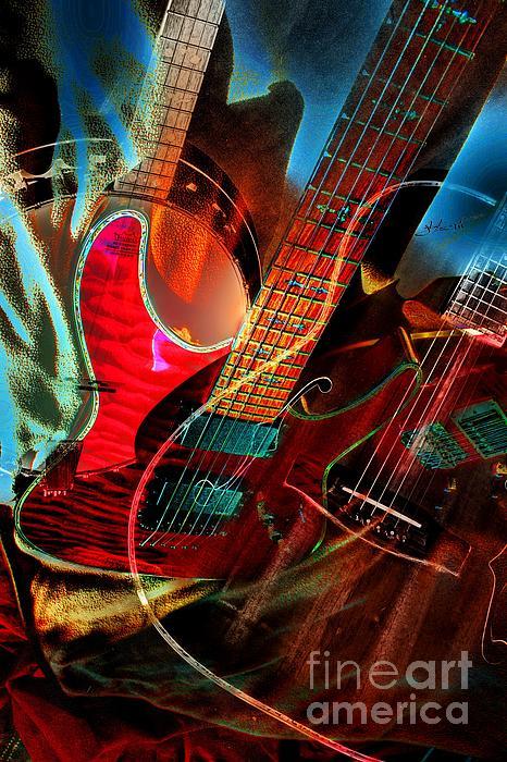 Acoustic Photograph - Triple Header Digital Banjo And Guitar Art By Steven Langston by Steven Lebron Langston