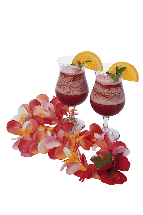 Tropical Drinks And Lei Photograph by Comstock