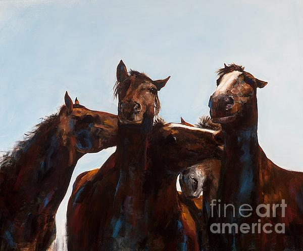 Horses Painting - Trouble Makers by Frances Marino