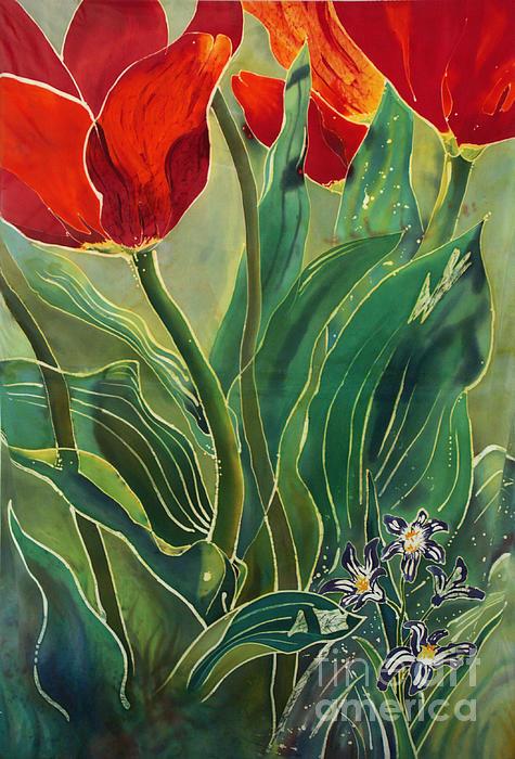 Batik Painting - Tulips And Pushkinia by Anna Lisa Yoder