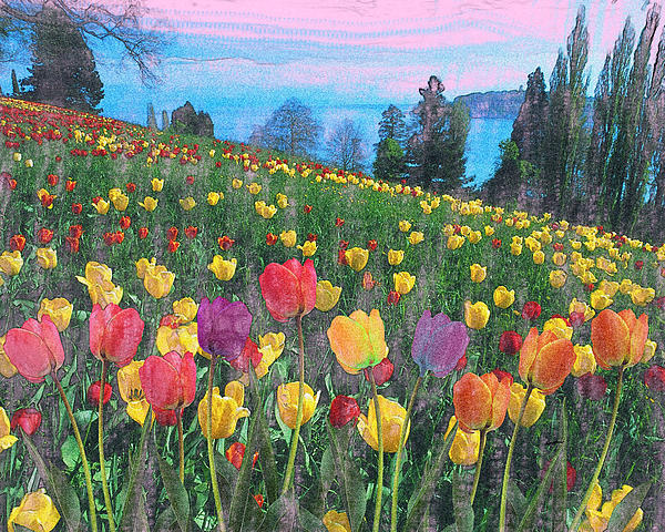 Landscape Painting - Tulips Lake by Anthony Caruso
