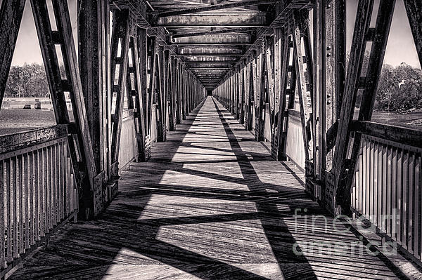 Tulsa Photograph - Tulsa Pedestrian Bridge In Black And White by Tamyra Ayles