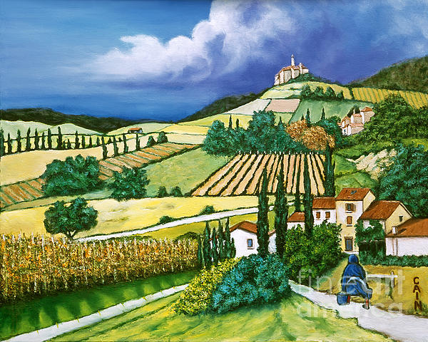 Tuscany Art Print Painting - Tuscan Fields by William Cain