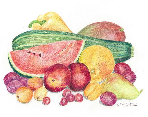 Paprika Drawing - Tutti Frutti by Eve-Ly Villberg