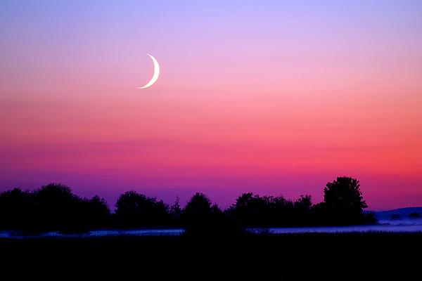 Moon Photograph - Twilight And Crescent Moon - Lummi Bay by Douglas Taylor