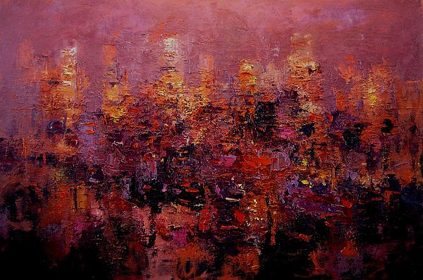Los Angeles Painting - Twilight In L A by R W Goetting
