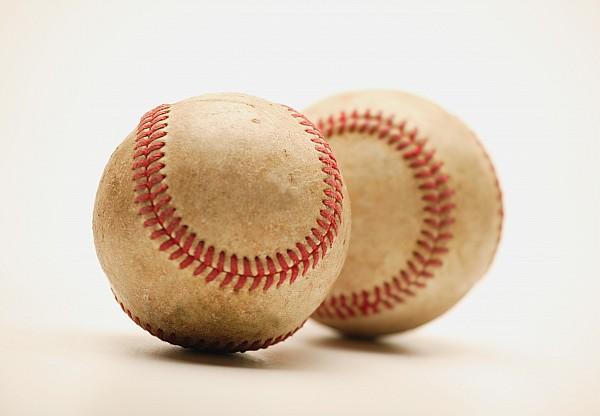 Balls Photograph - Two Dirty Baseballs by Darren Greenwood