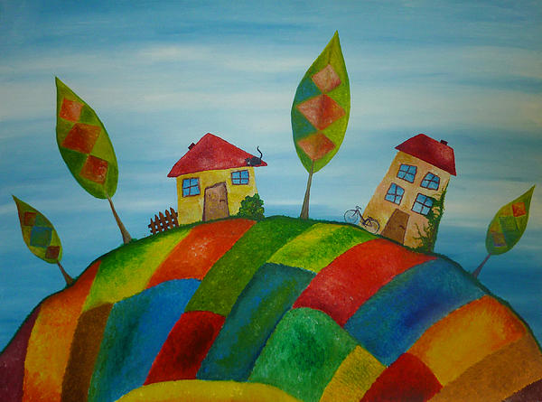 House Painting - Two Houses by Beata Dagiel
