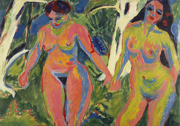 Expressionist; Expressionism; Portrait; Female; Double; Three-quarter Length; Forest; Tree; 2 Painting - Two Nude Women In A Wood by Ernst Ludwig Kirchner