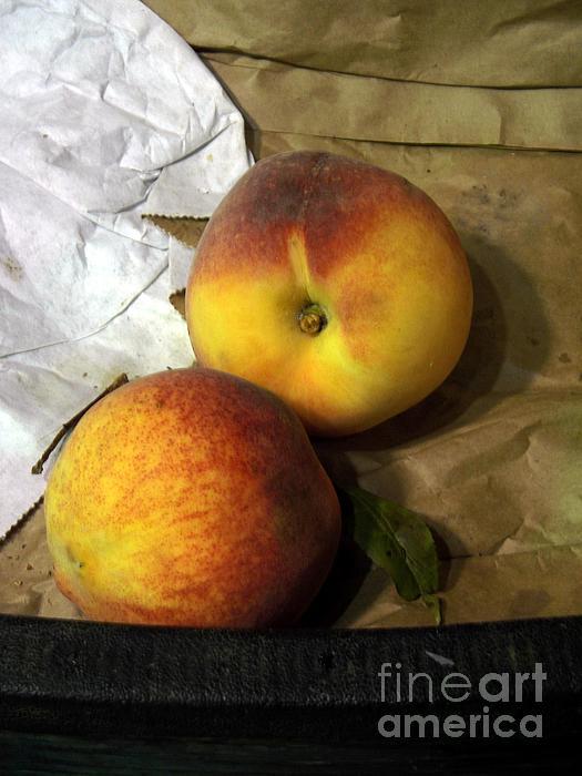 Fruit Photograph - Two Peaches by Miriam Danar