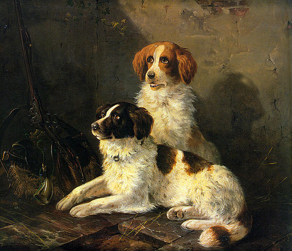 Two Spaniels Waiting For The Hunt Digital Art - Two Spaniels Waiting For The Hunt by Henriette Ronner Knip
