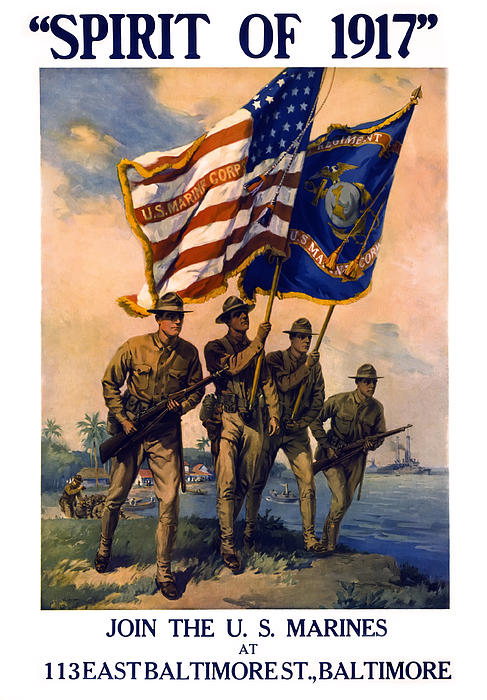 Marines Photograph - U. S. Marines Spirit Of 1917 by Daniel Hagerman