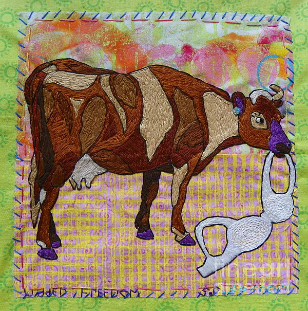Cow Tapestry - Textile - Udder Freedom by Susan Sorrell