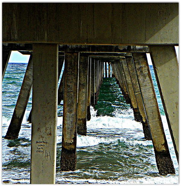 Boardwalk Florida Ocean Water Waves Scenery  Photograph - Under The Boardwalk  by Dianne  Lacourciere