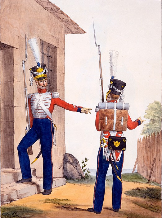 Uniform Drawing - Uniform Of The 8th Infantry Regiment by Charles Aubry