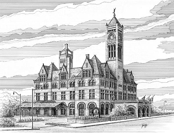Union Station In Nashville Drawing - Union Station In Nashville Tn by Janet King