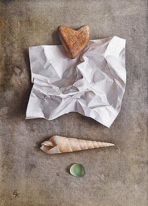 Symbolic Painting - Unwritten Letter 1 by Elena Kolotusha