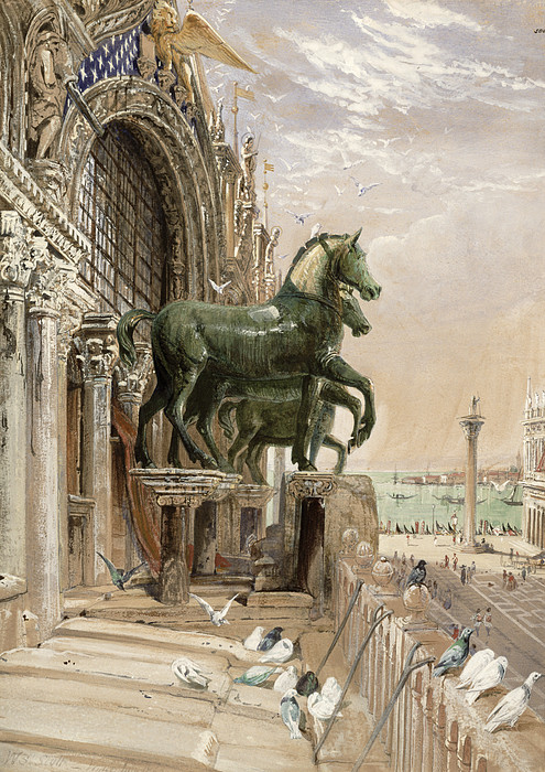 San Marco Drawing - Upper Portion Of The Facade Of St by William Bell Scott