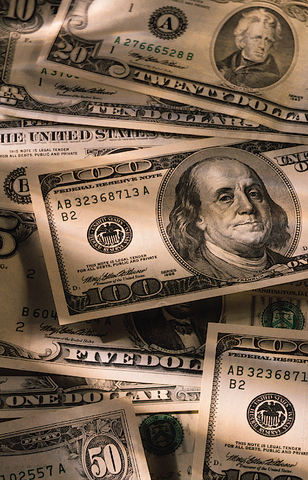 Us Dollar Bills Photograph by Comstock