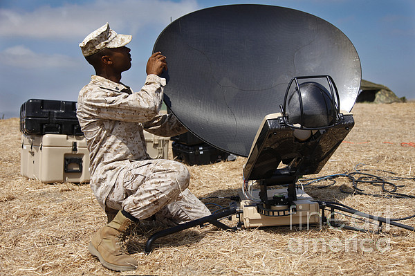 Satellite Dish Photograph - U.s. Marine Assembles A Support Wide by Stocktrek Images